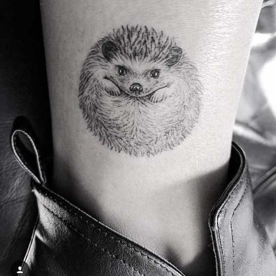 Tatuagem de um porco-espinho sobre a perna da menina