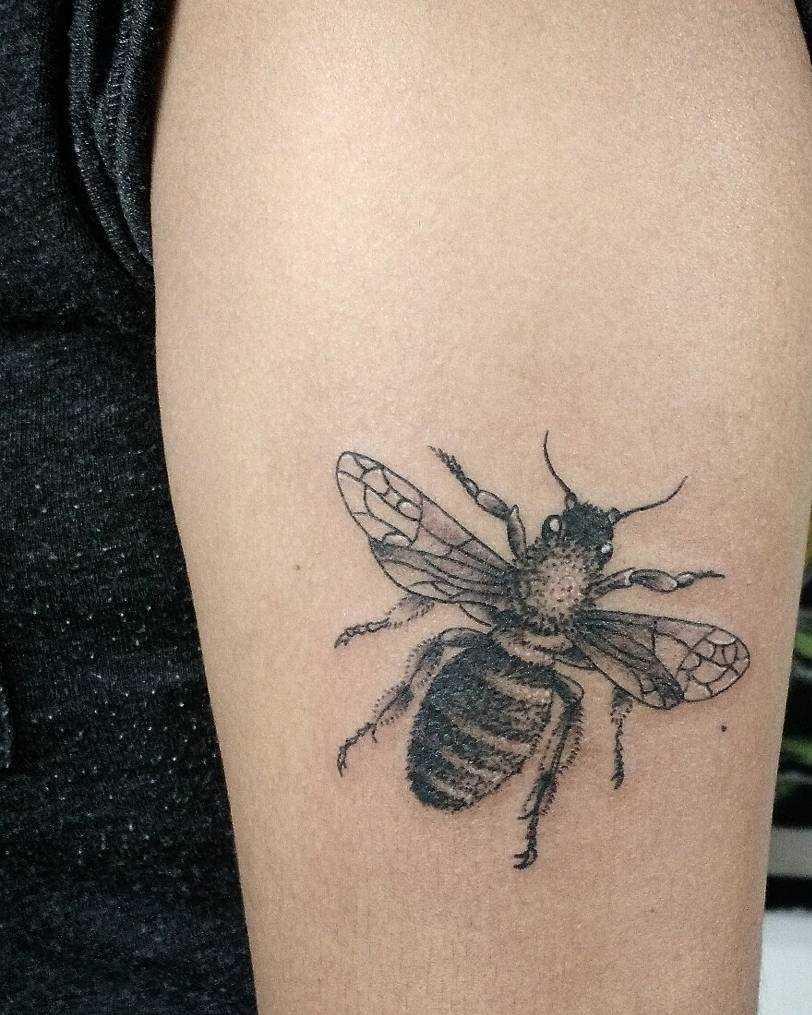 Tatuagem de uma abelha na mão de um cara