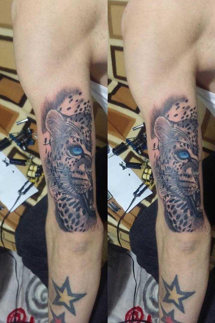 Tatuagem de uma chita na mão de um cara
