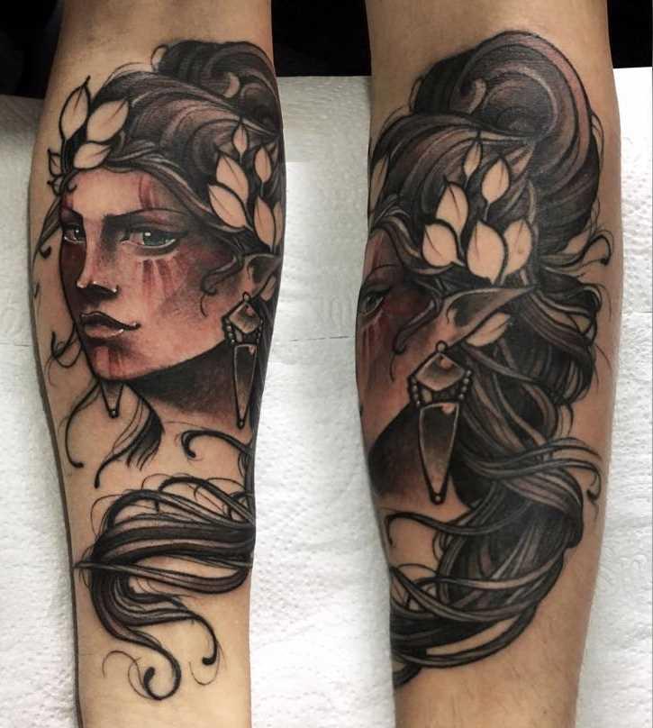 Tatuagem de uma menina elfo no antebraço homens
