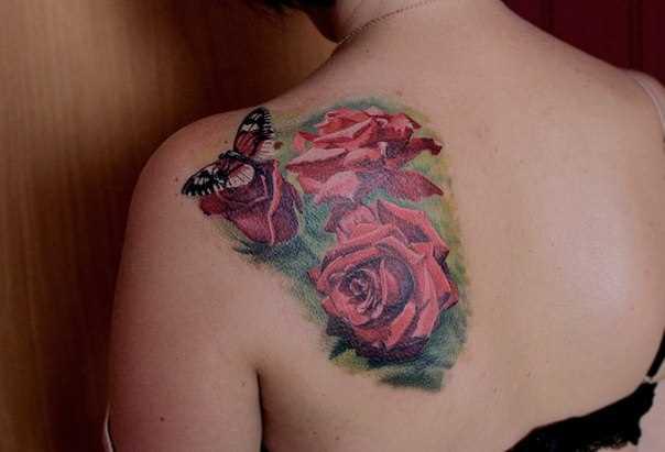 Tatuagem em estilo 3d blade menina - borboleta e a rosa