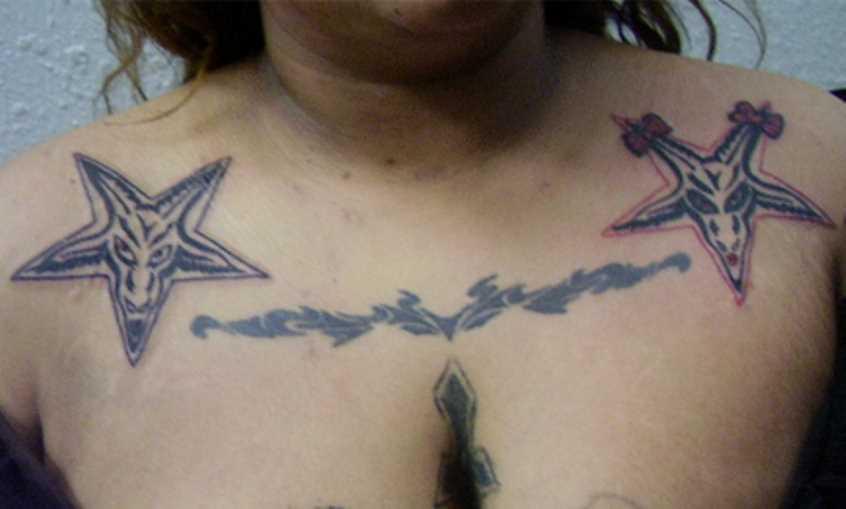 Tatuagem em kliuchitsakh meninas - pentagrama