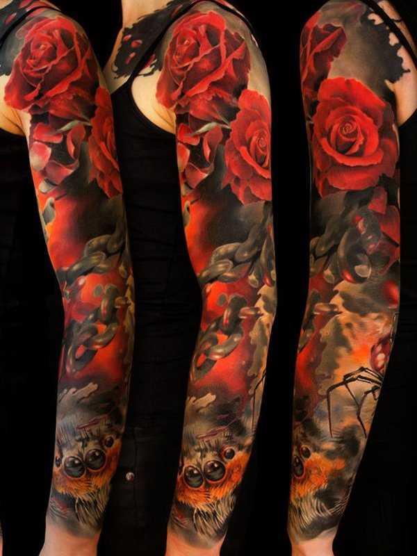 Tatuagem manga, as meninas rosas vermelhas