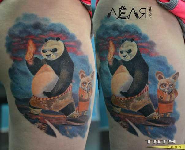 Tatuagem na coxa da menina - Kung-fu-Panda