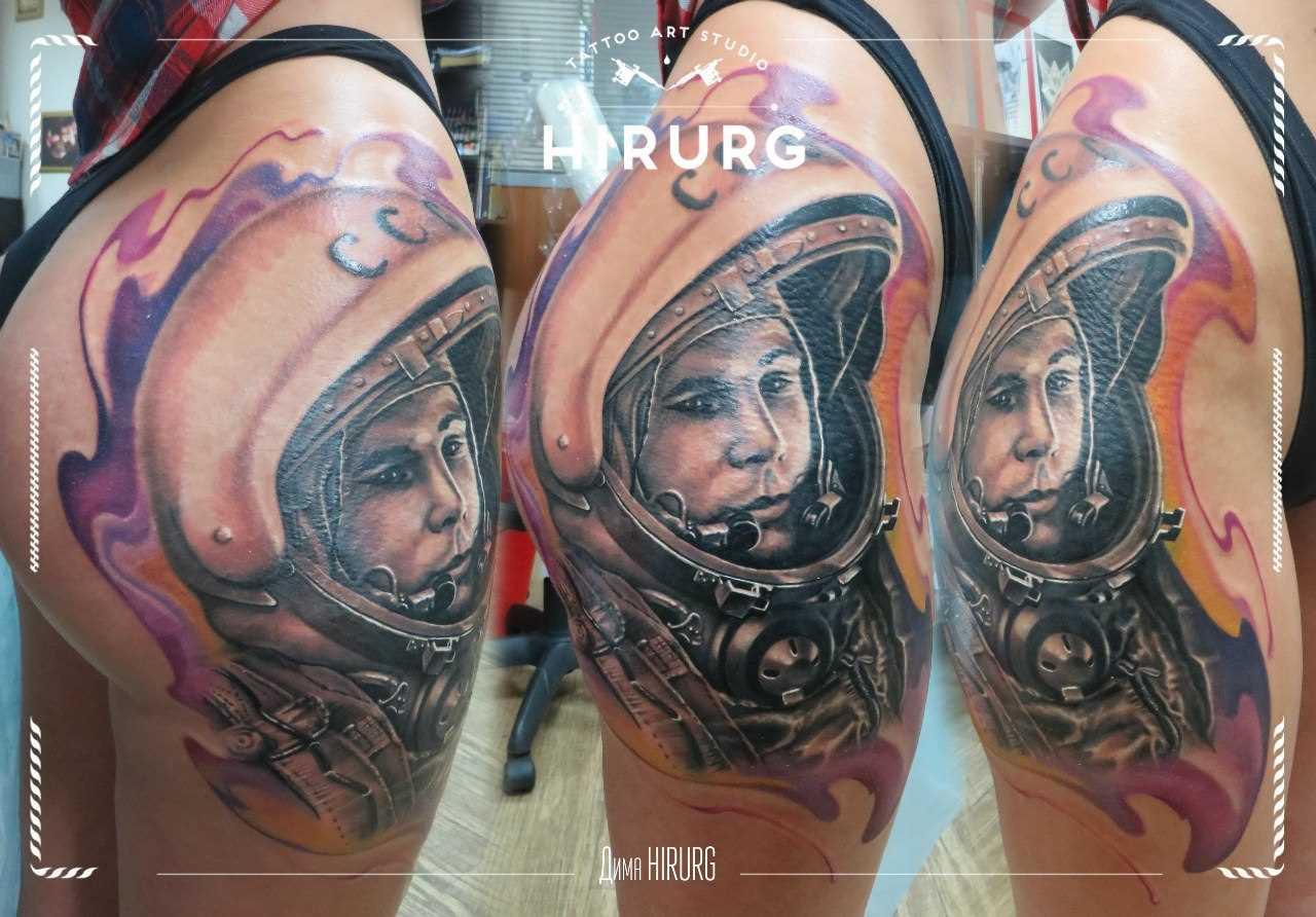 Tatuagem na coxa da menina - Yuri Gagarin