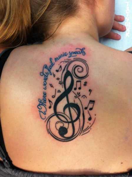 Tatuagem na espinha, as meninas - clave de sol, as notas e a indicação