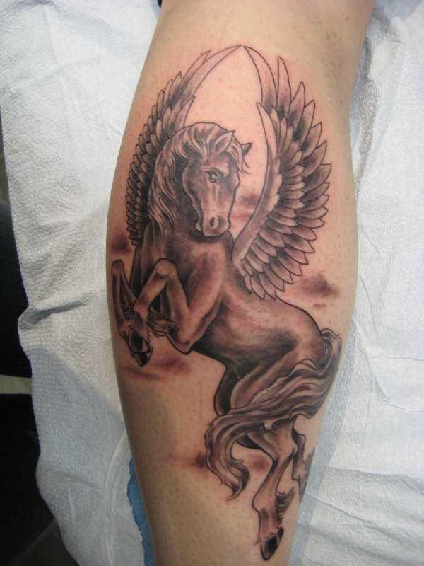 Tatuagem na perna da menina - pegasus