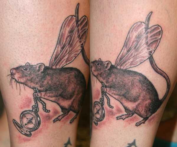 Tatuagem na perna da menina - um rato com asas de libélulas e compasso