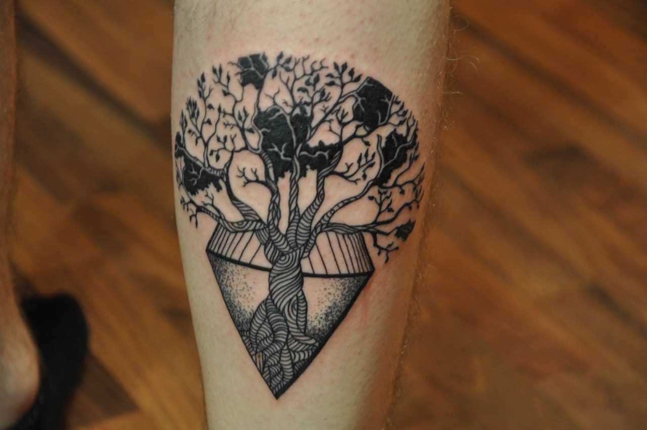 Tatuagem na perna de um cara - a árvore