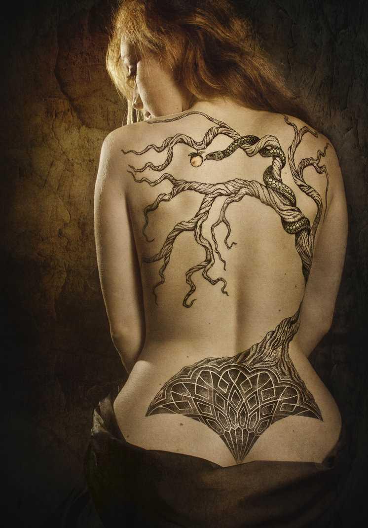 Tatuagem nas costas da menina de madeira e o padrão de