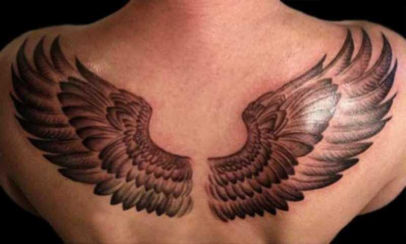 Tatuagem nas costas de uma menina como as asas de uma