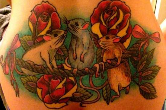 Tatuagem nas costas de uma menina de um rato e rosa