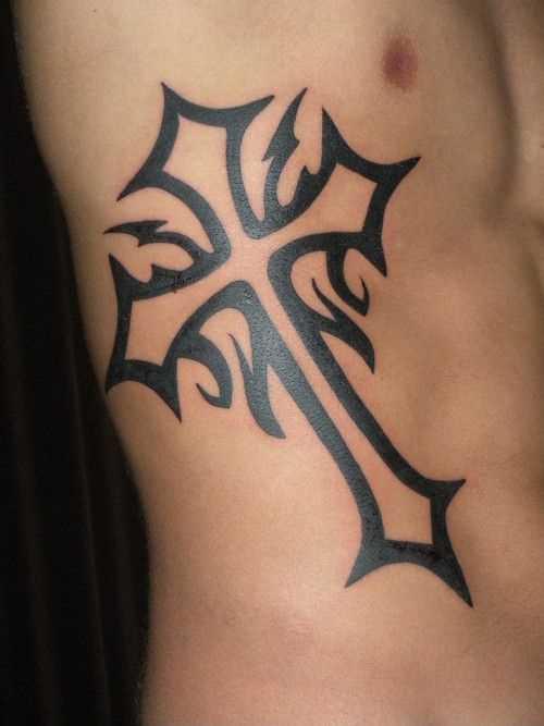Tatuagem nas costelas cara - cruz