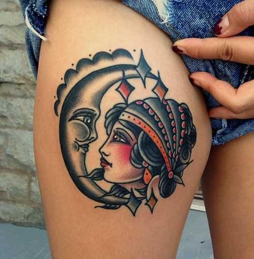 Tatuagem nas coxas da menina - da-lua e a menina