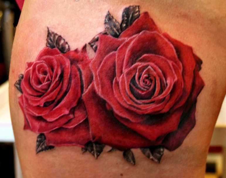 Tatuagem nas coxas da menina rosas vermelhas