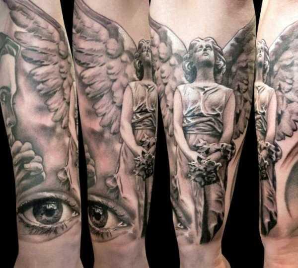 Tatuagem no antebraço a menina - anjo e olhos