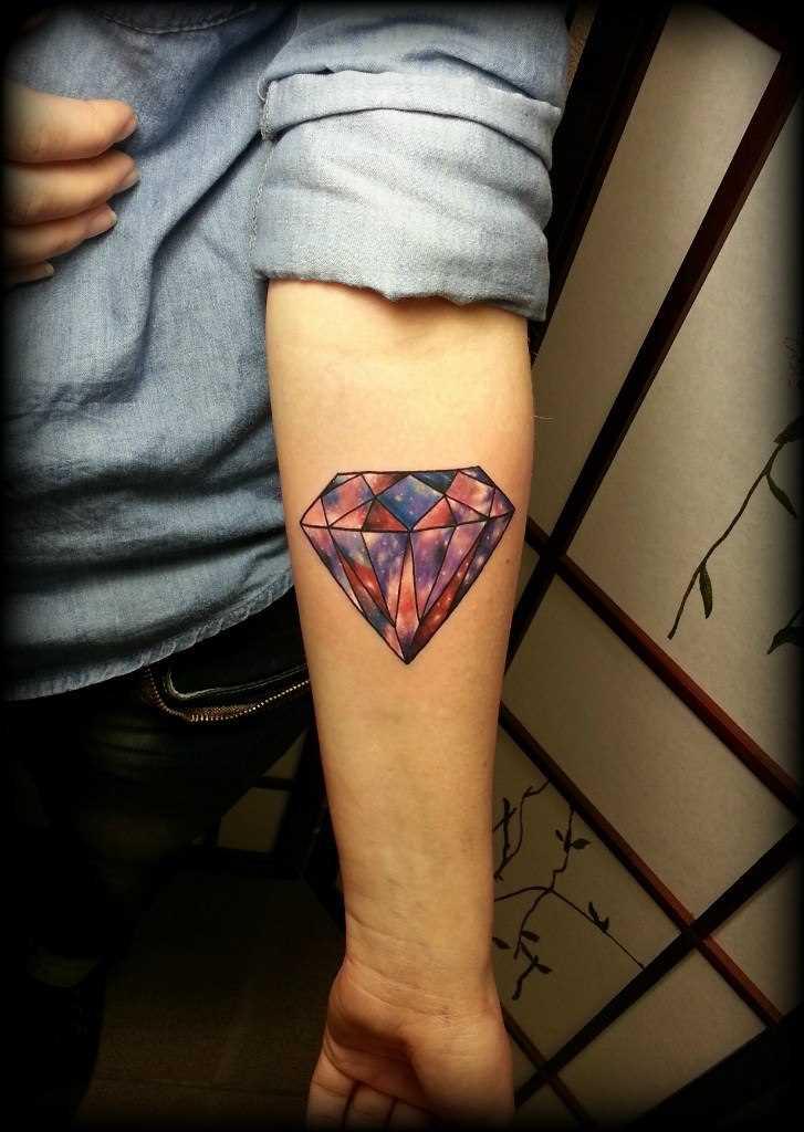 Tatuagem no antebraço, as meninas - diamante