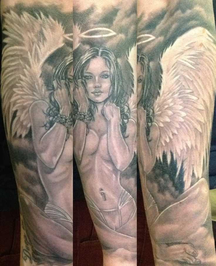 Tatuagem no antebraço cara - a menina-anjo