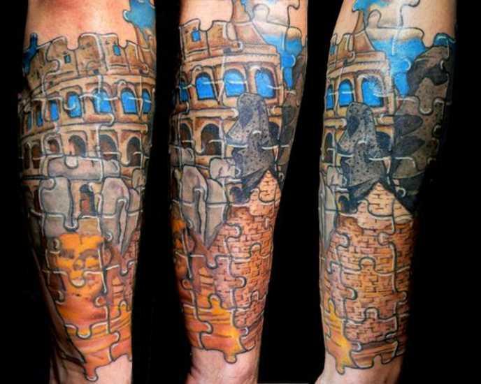 Tatuagem no antebraço cara - de quebra-cabeça em forma de uma imagem