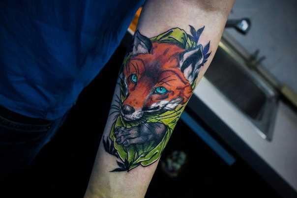 Tatuagem no antebraço cara - de- raposa
