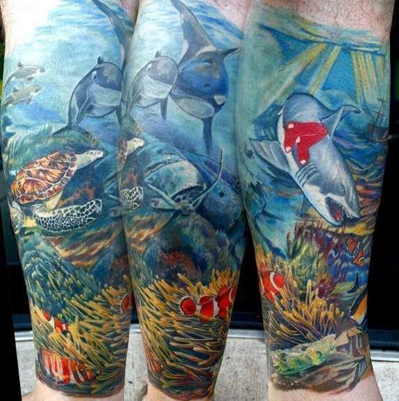 Tatuagem no antebraço cara - de tubarão, tartaruga e golfinhos