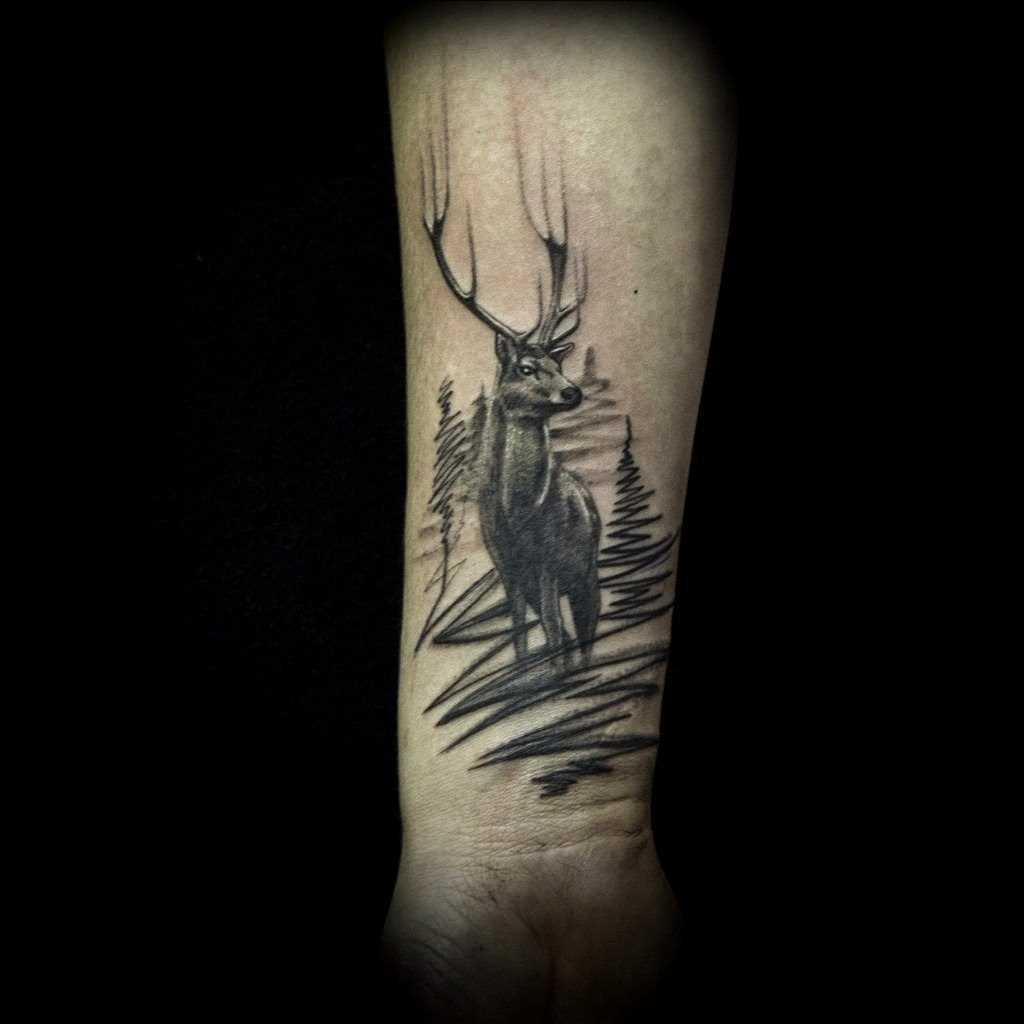 Tatuagem no antebraço do cara - de- veado