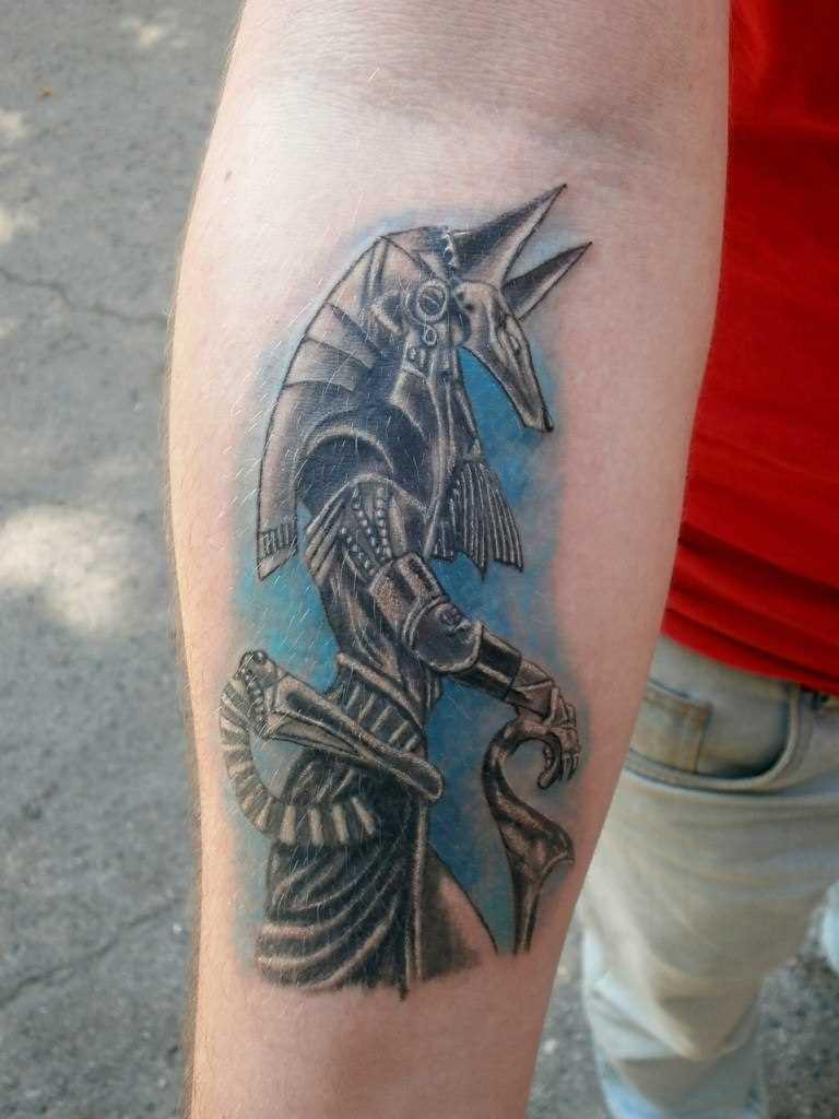 Tatuagem no antebraço do cara - of anubis