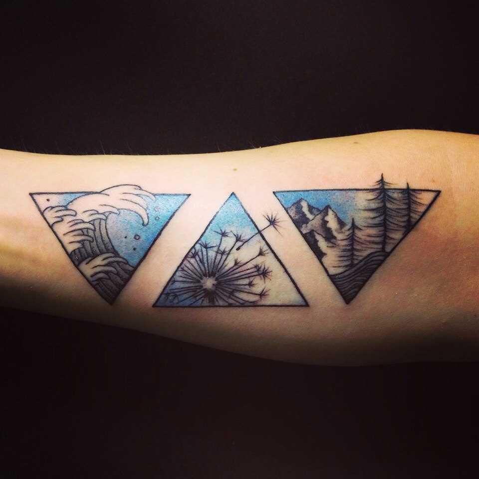 Tatuagem no antebraço do cara - triângulos