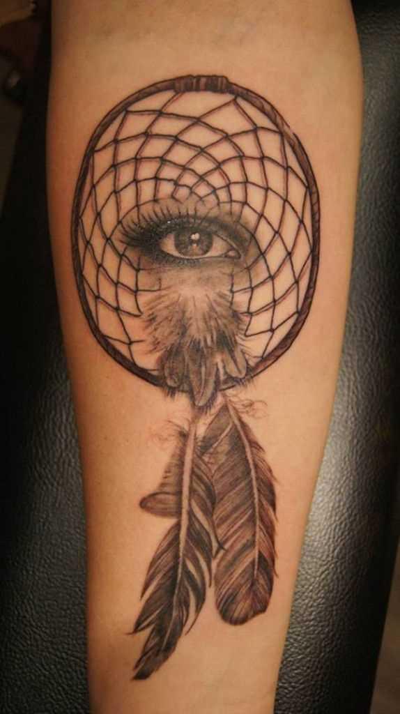 Tatuagem no antebraço meninas - apanhador de sonhos e dos olhos