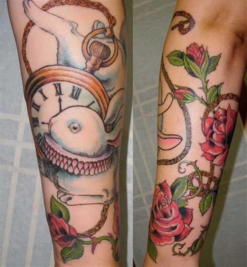 Tatuagem no antebraço meninas - coelho com o relógio