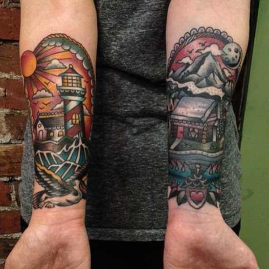 Tatuagem no antebraço meninas - farol, uma gaivota e do sol
