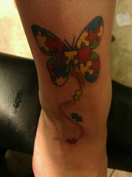 Tatuagem no antebraço meninas quebra - cabeças em forma de borboleta