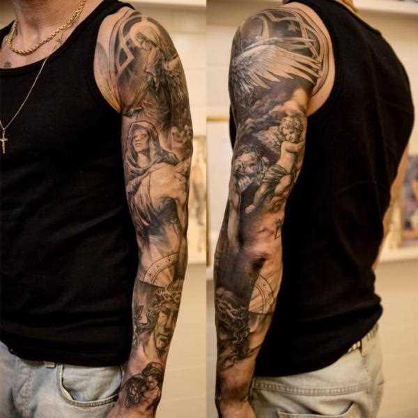 Tatuagem no braço de um cara - anjos