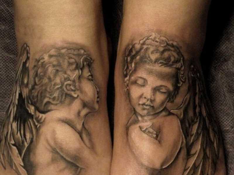 Tatuagem no meu pé a menina - anjos