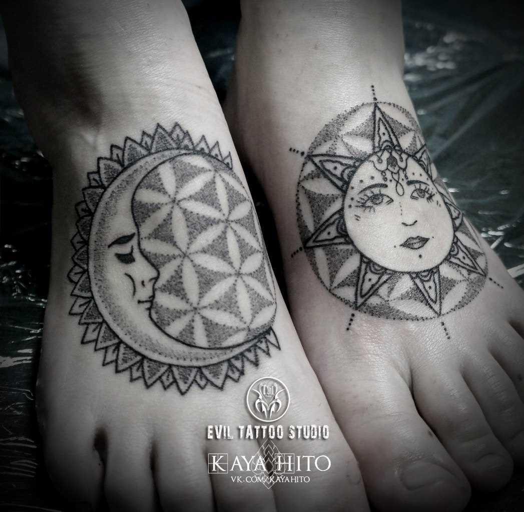 Tatuagem no meu pé de uma menina - da-lua e o sol