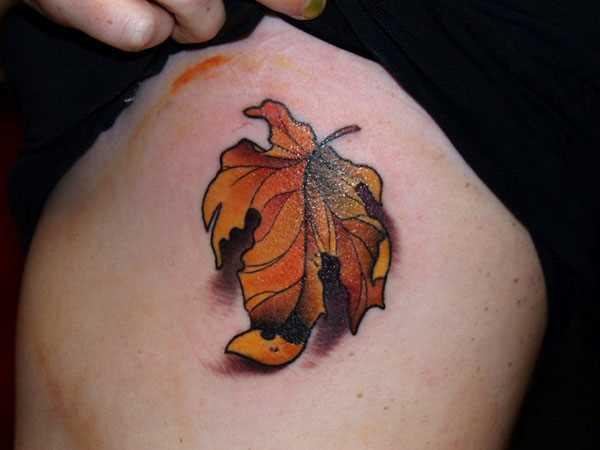 Tatuagem no ombro da menina - folha de