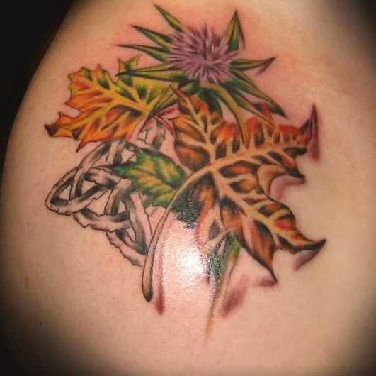 Tatuagem no ombro da menina - folhas