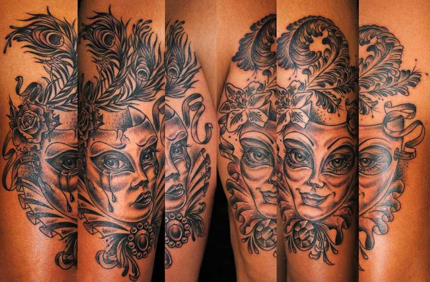 Tatuagem no ombro da menina - máscara