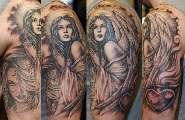 Tatuagem no ombro de um cara - um anjo em forma de menina e coração