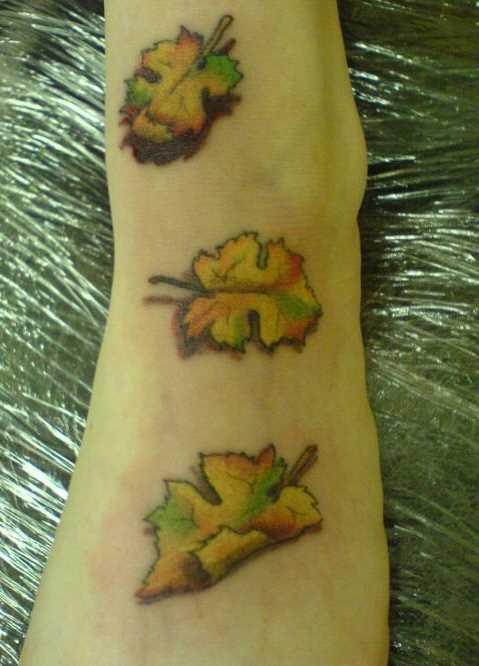 Tatuagem no pé da menina em forma de folhas
