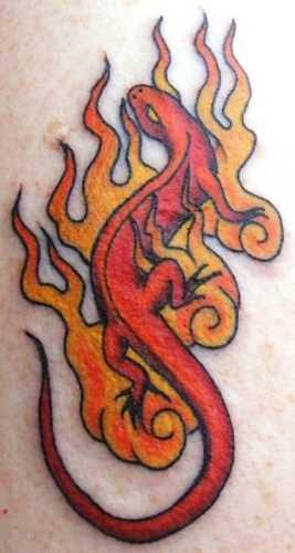 Tatuagem no peito da menina - a salamandra e o fogo