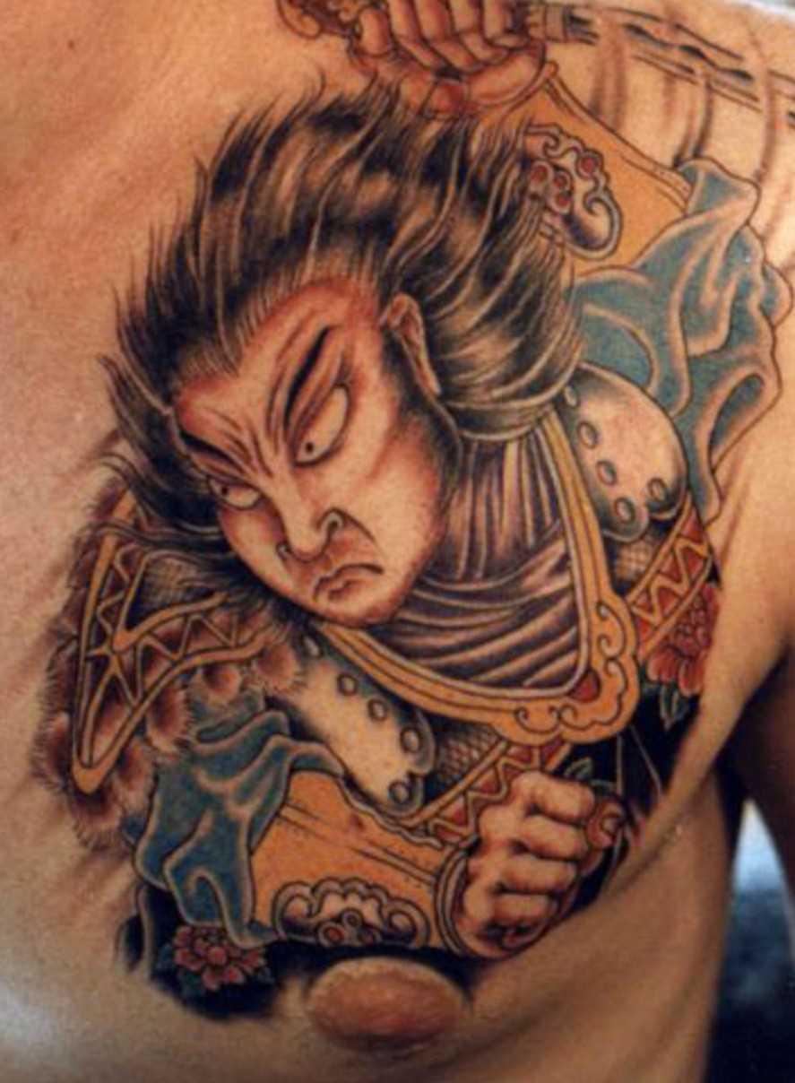 Tatuagem no peito do cara - samurai