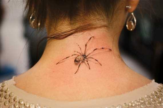 Tatuagem no pescoço da menina - aranha
