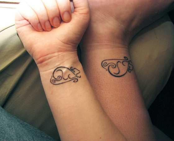 Tatuagem no pulso da menina - mouse
