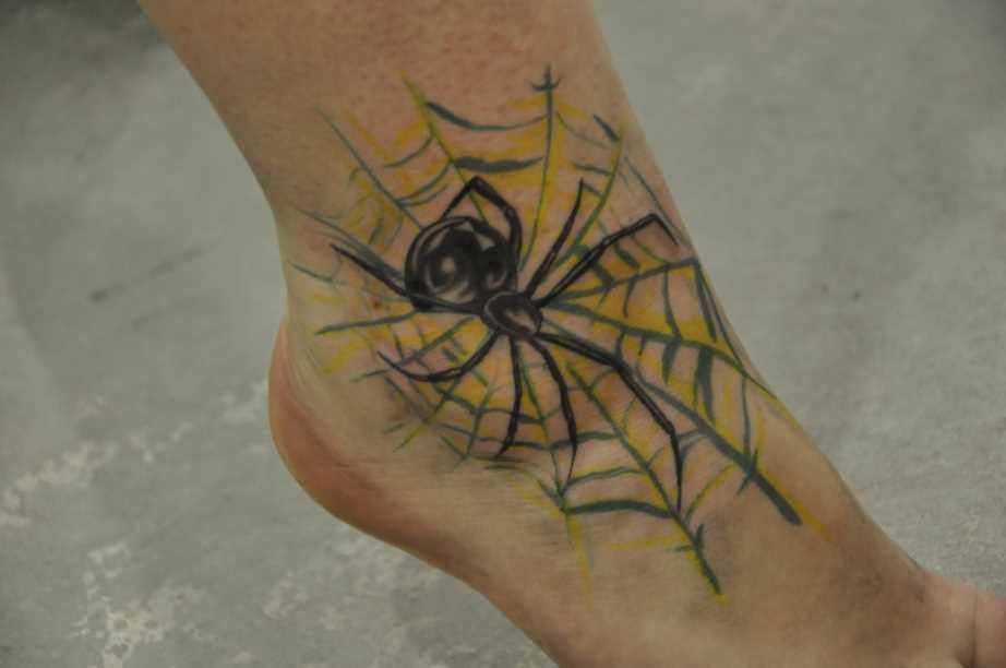 Tatuagem no tornozelo preto meninas - teia de aranha e a aranha