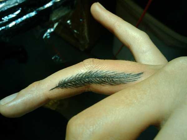 Tatuagem nos dedos de uma menina - uma pena