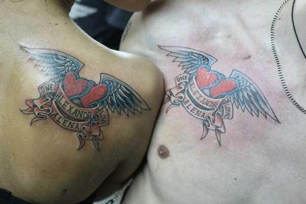 Tatuagem para dois no peito e blade o cara e a garota de coração com asas