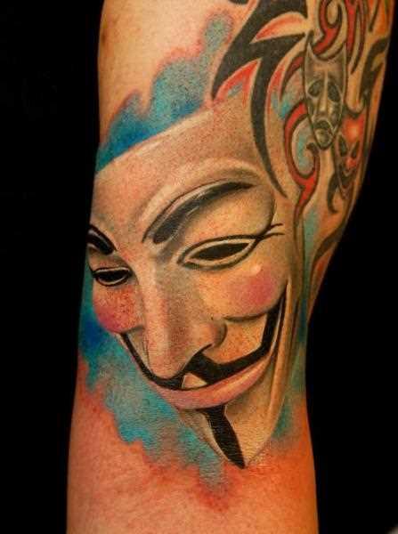 Tatuagem que tem no braço da menina - máscara