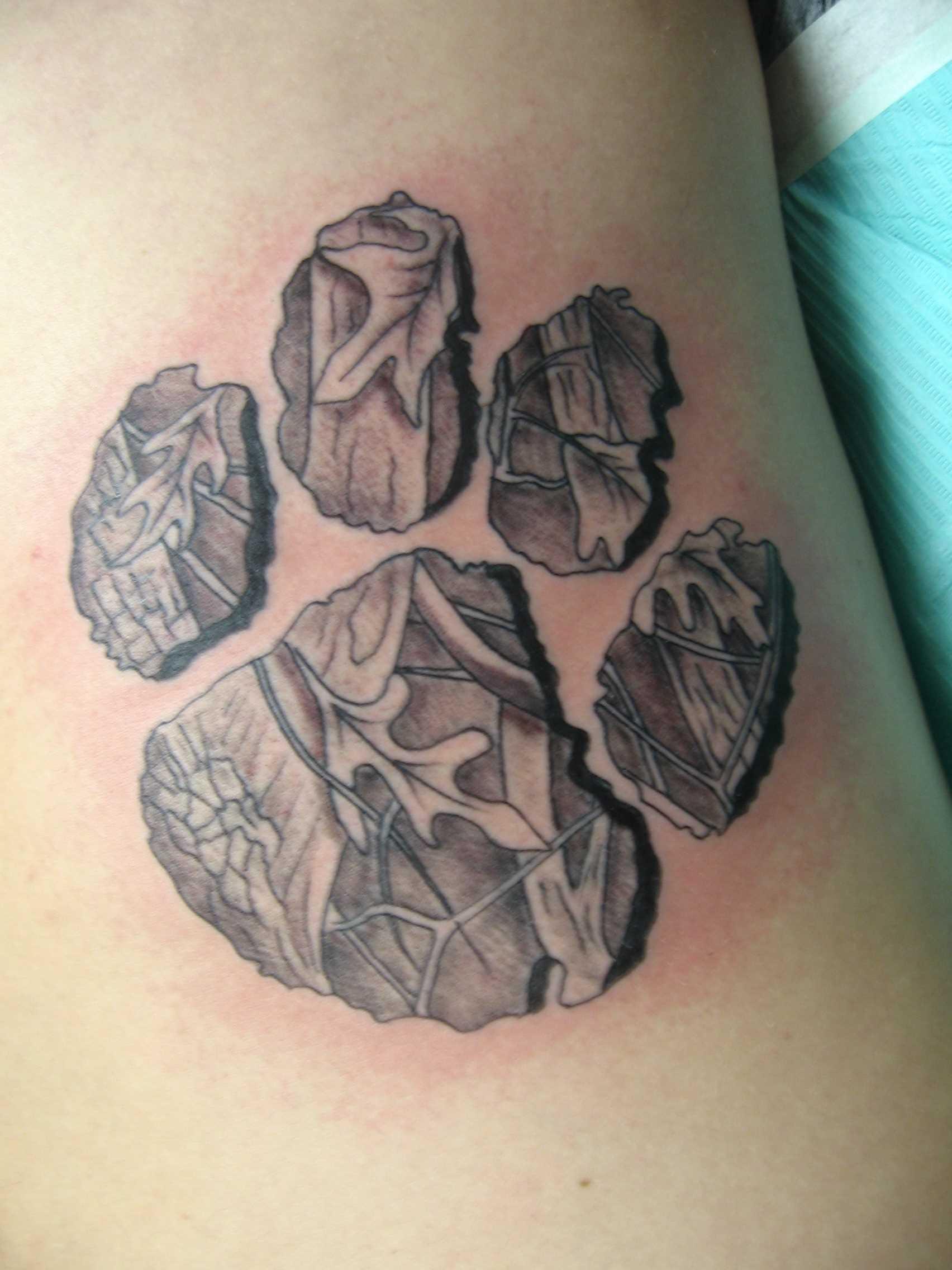 Tatuagem que tem no braço da menina - pata