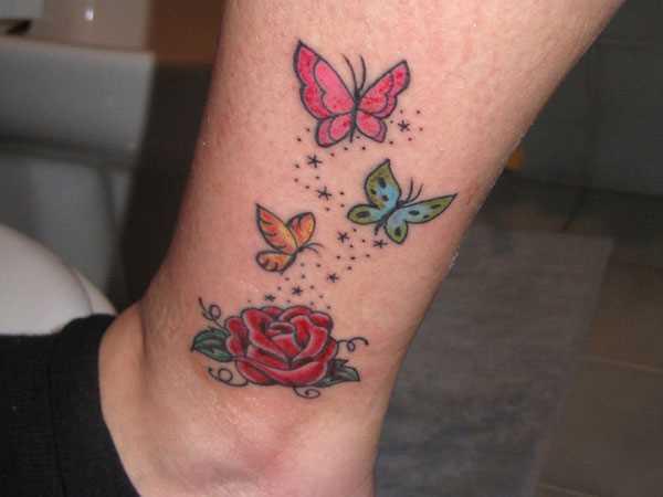 Tatuagem t a menina - rosa e a borboleta